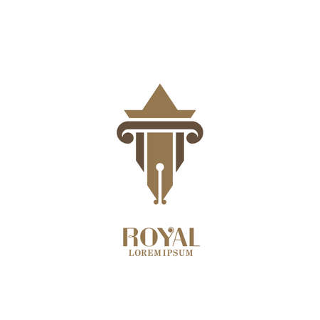 Fountain pen isolated vector icon with antique columns.  design for law offices and museums.