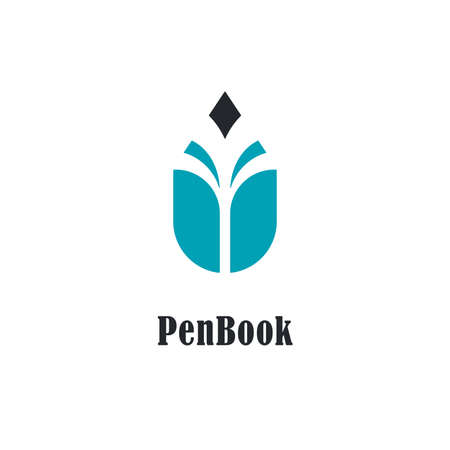 Pencil  with book symbol. Vector  designs for bookstores, authors and educational institutions. Illustration