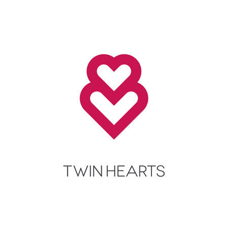Intertwined hearts on white background. Twin hearts  design.