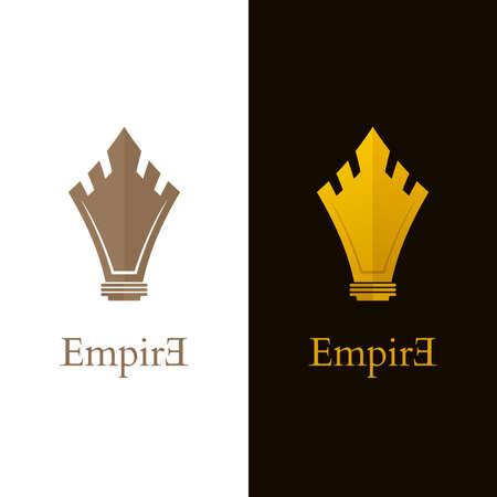 Shield shaped castle icons. Gold colored castle  designs.