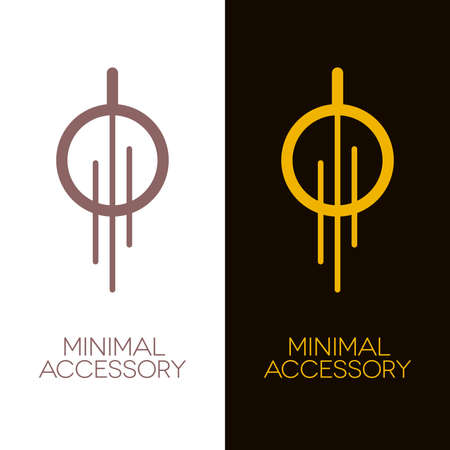 Minimal jewelry or decorative accessories icons such as necklace, earring or lighting equipment. Gold and bronze vector .