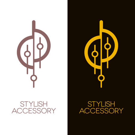 Ornate decorative accessories or jewelry icons such as necklace, earring or lighting equipment. Gold and bronze vector.