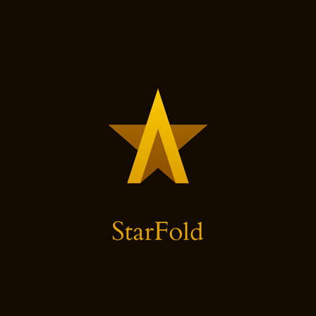 Gold colored letter a icon with star shape. Luxury star  design.