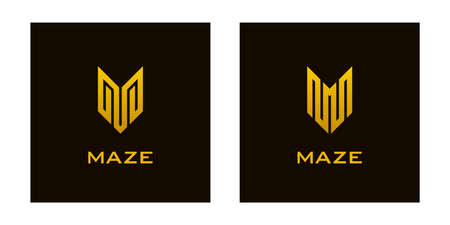 Gold colored letter v or m icons on black background. Luxury  designs.
