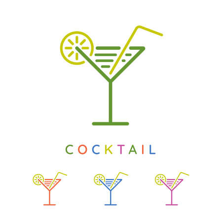 Colorful cocktail glass icons with lemon and straw symbols. Minimal drink  design.