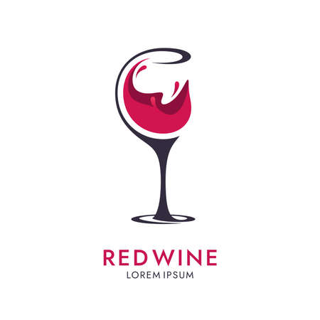 Wine icon with cut glass on white background. Abstract drink  design.
