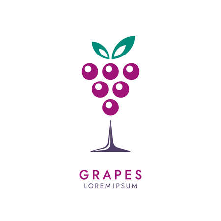 Bunch of grapes icon in wine glass form. Abstract drink  design.