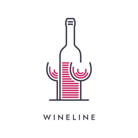 Minimal wineglass and bottle icon in a row lines. Abstract drink concept design.