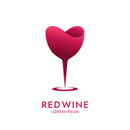 Abstract wineglass icon on white background. Minimal drink  design.