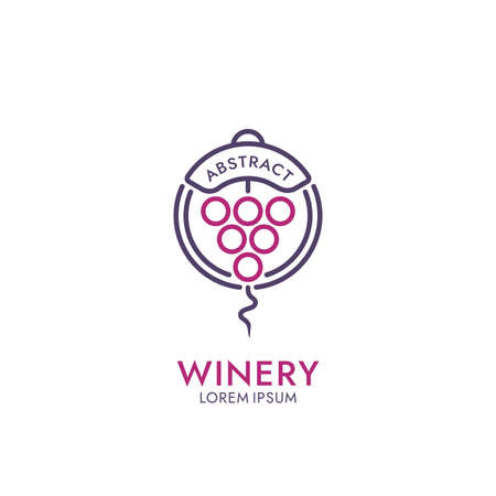 Bunch of grapes and corkscrew icon. Abstract drink  design.