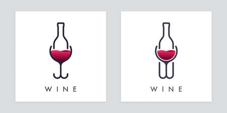 Intertwined wineglass and bottle icons. Abstract drink concept design.