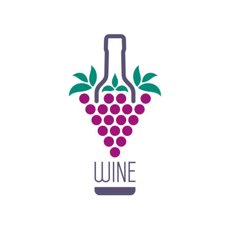 Bunch of grapes and wine bottle icon. Abstract drink concept design. Illustration