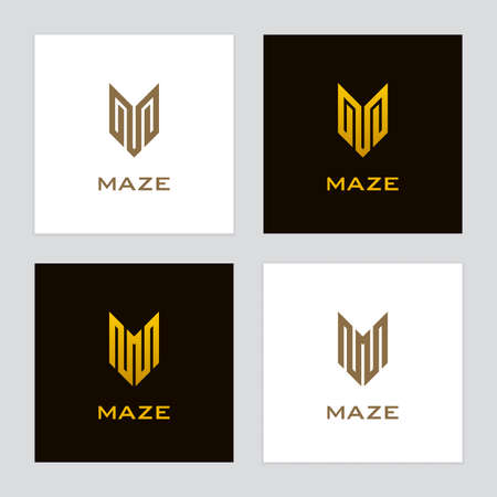 Gold colored letter v or m icons in labyrinth form. Luxury  set