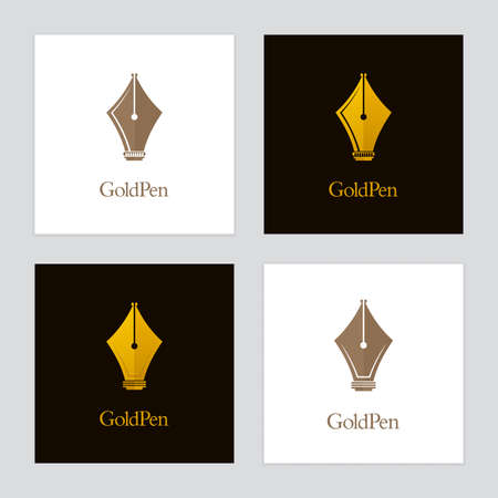 Gold colored fountain pen icons with castle symbols. Vector  designs for authors, publishers and educational institutions.