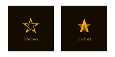 Shiny gold colored letter a and star icons. Luxury star  designs.