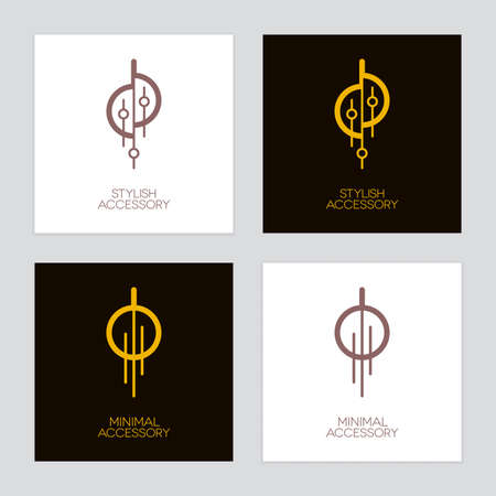 Gold and bronze jewelry or decorative accessories icons such as necklace, earring or lighting equipment. Luxury  set. Banque d'images - 155947153