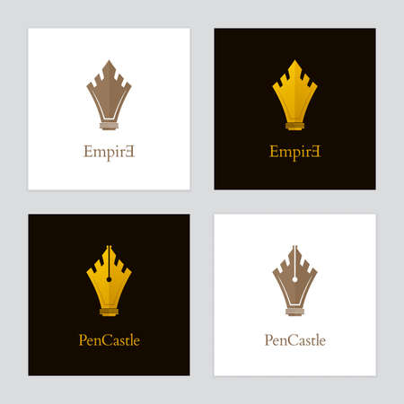 Gold colored castle and fountain pen icons. Vector  designs for authors, publishers and educational institutions. Illustration