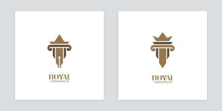 Fountain pen and antique column icons.  design for law offices and museums. Illustration