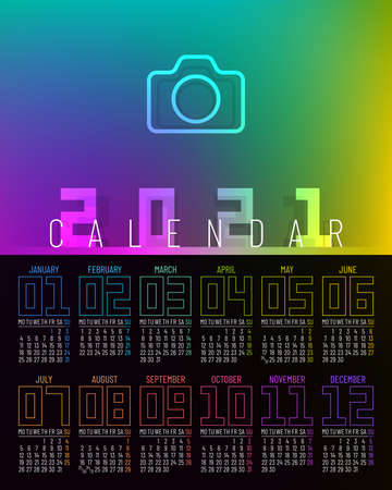 Poster calendar 2021 vector design with 12 pages and rainbow colors. Week starts on Monday.
