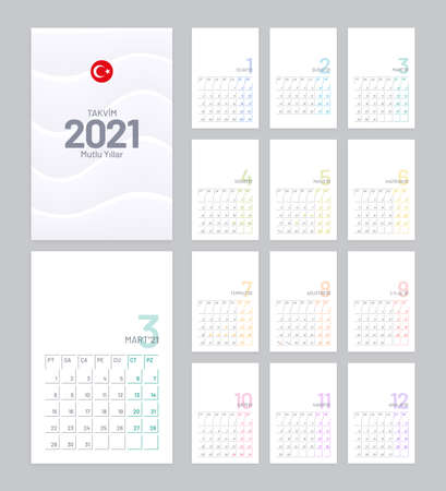 Calendar 2021 vector design with 12 pages on white background. Minimal planner template. Calendar template for Turkey. Illustration