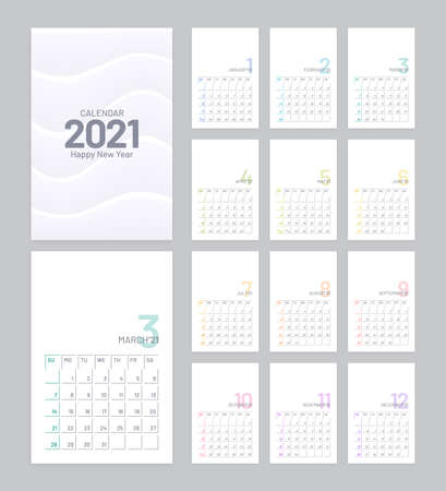 Calendar 2021 vector design with 12 pages on white background. Minimal planner template. Week starts on Sunday.