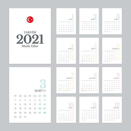 Calendar 2021 vector design with 12 pages on white background. Simple calendar template for Turkey.