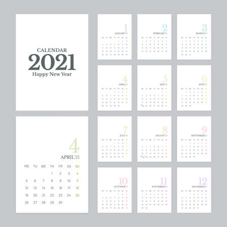 Simple calendar 2021 vector design with 12 pages on white background. Week starts on Monday. Illustration
