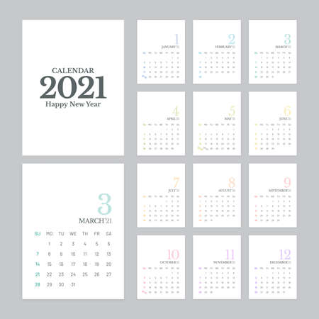 Simple calendar 2021 vector design with 12 pages on white background. Week starts on Sunday.
