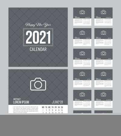Square calendar 2021 vector design with 12 pages and grid textured background. Week starts on Monday.