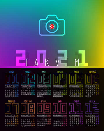 Poster calendar 2021 vector design with 12 pages and rainbow colors. Calendar template for Turkey.