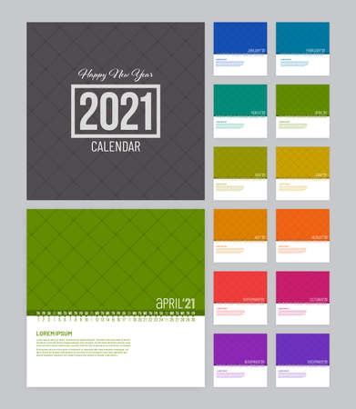 Colorful linear calendar 2021 vector template with 12 pages. Week starts on Monday.