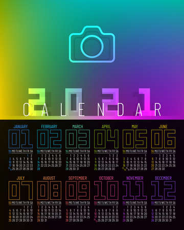 Poster calendar 2021 vector design with 12 pages and rainbow colors. Week starts on Sunday.