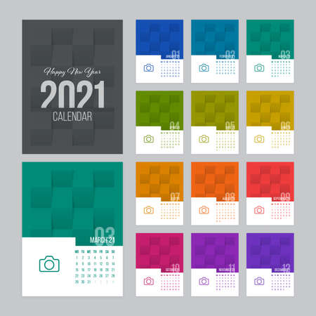 Calendar 2021 vector design with 12 pages and folded paper textured background. Week starts on Monday. Illustration
