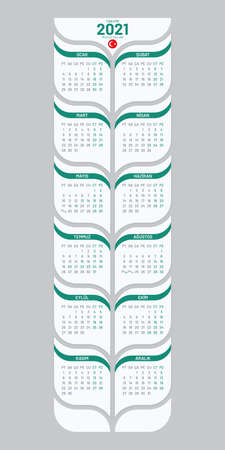 Poster calendar 2021 template for Turkey. Vertical tree shaped calendar vector design on white background. Illustration