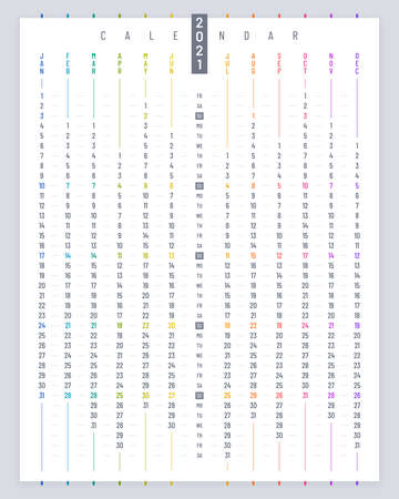 Linear poster calendar 2021 vector design. Vertical calendar template on white background.