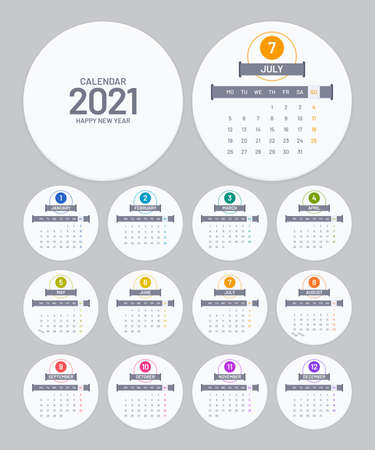 Calendar 2021 template in round form. Circle badge calendar vector design on white background. Week starts on Monday.