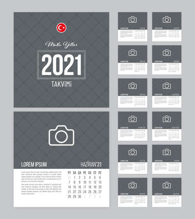 Calendar 2021 vector design with 12 pages and grid textured background. Square calendar template for Turkey.