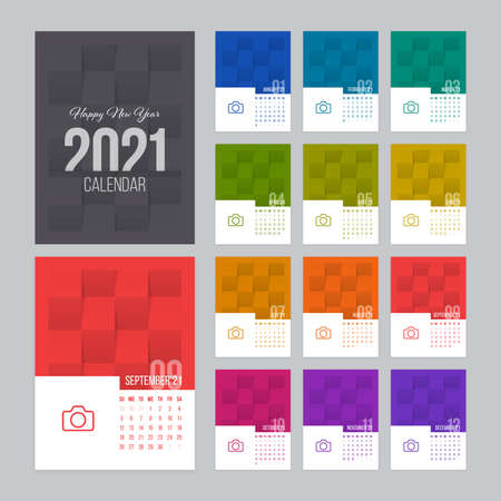Calendar 2021 vector design with 12 pages and folded paper textured background. Week starts on Sunday. Illustration
