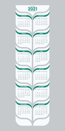 Poster calendar 2021 template on white background. Vertical tree shaped calendar vector design. Week starts on Monday.