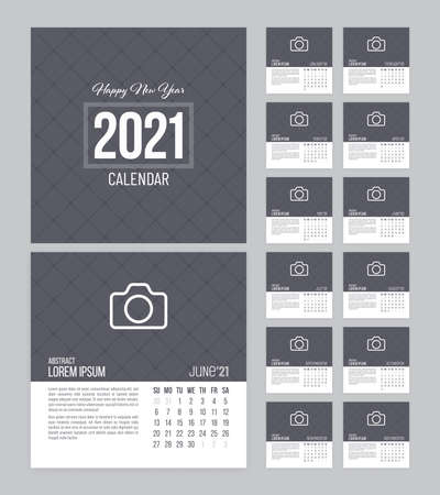 Square calendar 2021 vector design with 12 pages and grid textured background. Week starts on Sunday. Illustration