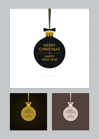 Christmas balls with bows and ribbons. Various colors new year greeting card designs. Illustration