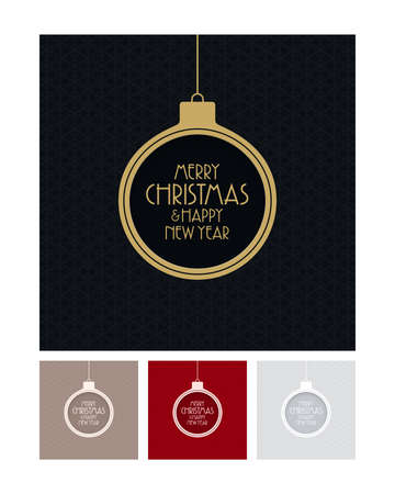 Abstract Christmas balls with Merry Christmas and Happy New Year lettering on patterned backgrounds. Minimal new year greeting cards. Illustration