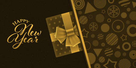 Luxury new year banner with gift box on brown geometric patterned background. Gold colored new year greeting card design.