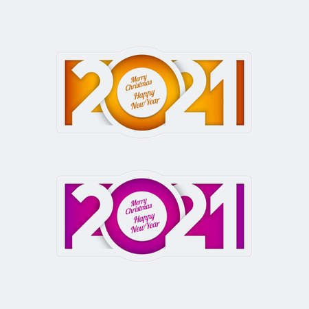 Paper cut overlapping 2021 numbers, Merry Christmas Happy New Year lettering on purple and orange backgrounds. Elegance greeting card, calendar cover, banner, invitation design. Illustration
