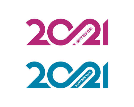 Pink and turquoise 2021 numbers, Happy New Year lettering on white backgrounds. Minimal calendar cover, invitation, greeting card, banner design.