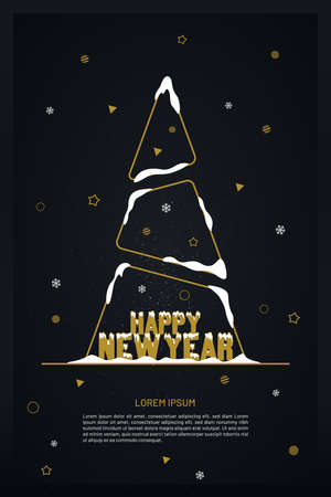 New year greeting card with abstract outline tree and snow on black background with geometric shapes. Luxury new year banner design.
