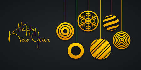 Abstract Christmas balls with snowflakes, linear stripes and concentric circles. Hanging gold colored balls on black background. New year greeting card, banner design.