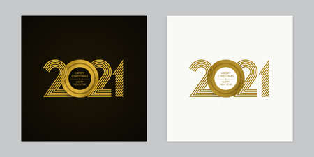 Gold colored overlapping 2021 numbers, Merry Christmas and Happy New Year lettering on black and white backgrounds. Luxury calendar cover, invitation, greeting card, banner design. Illustration
