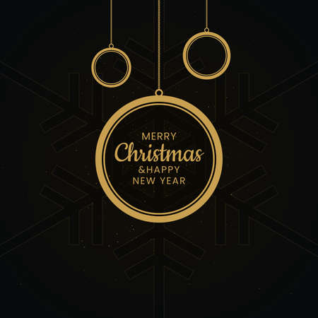 Hanging Christmas balls with Merry Christmas and Happy New Year lettering on black snowflake patterned background. New year greeting card.