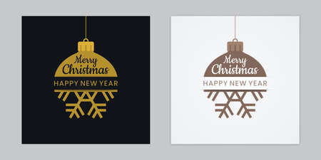 Integrating Christmas balls and snowflakes. Gold colored abstract new year greeting cards. Illustration